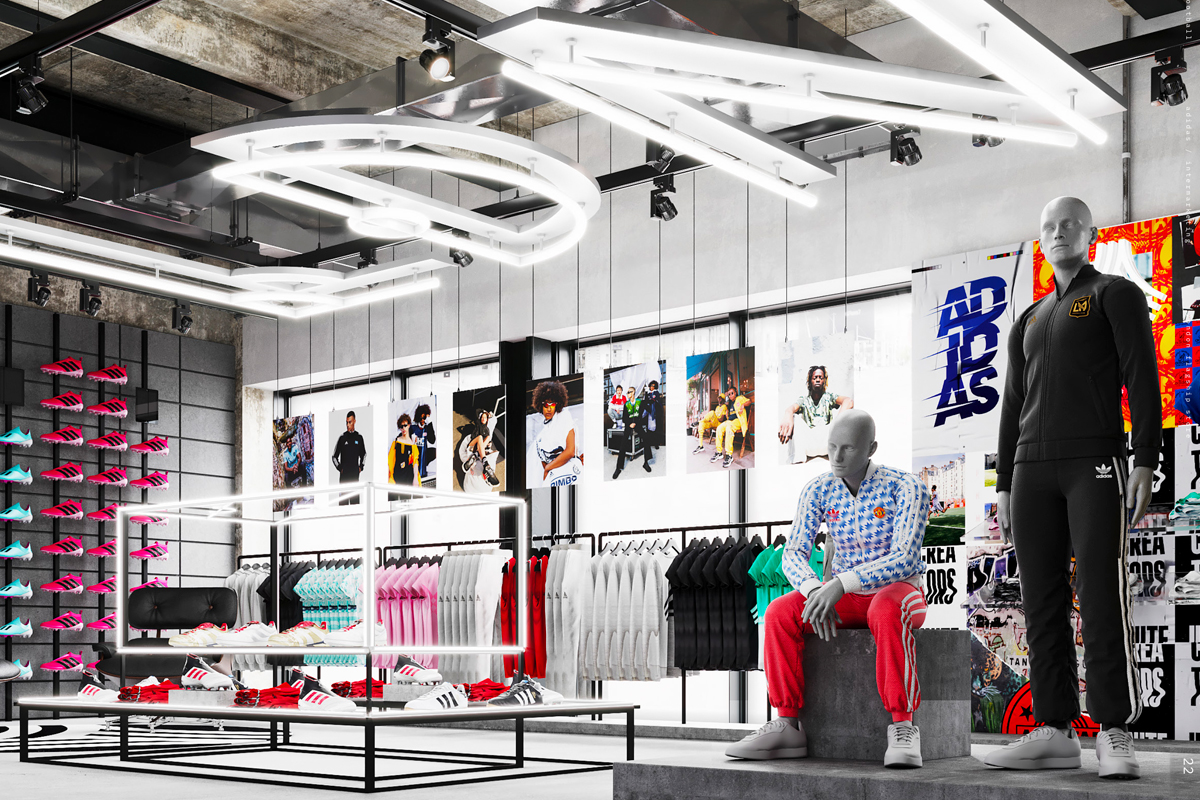 Adidas London flagship store Oxford Street artists impression