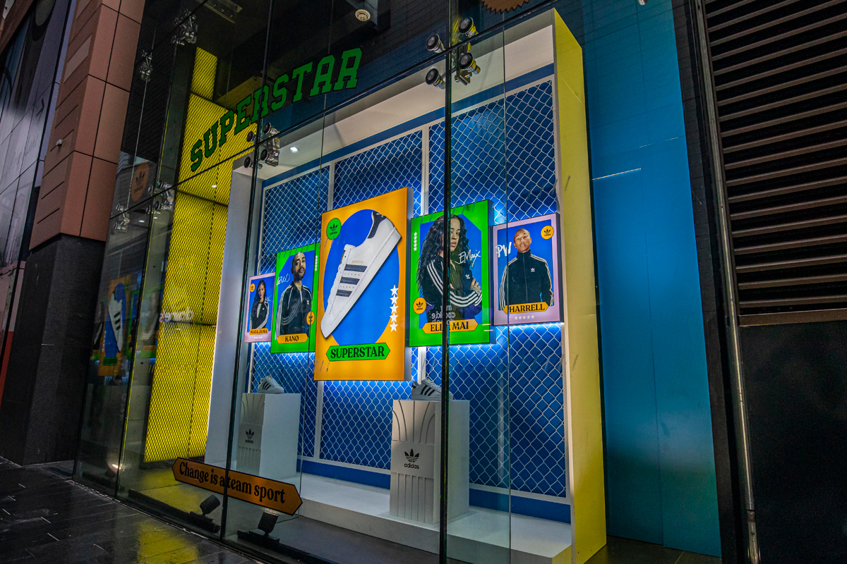 Adidas Superstar 2020 window display