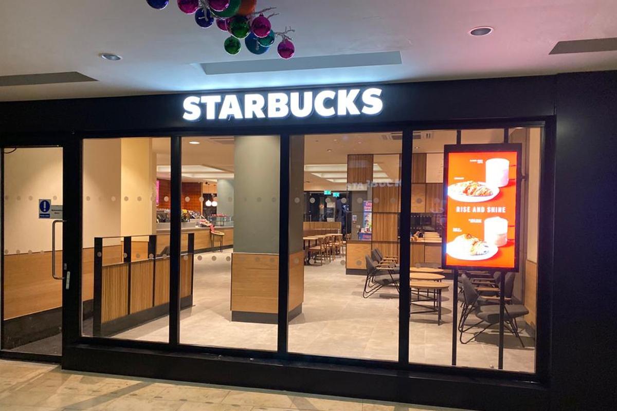 Starbucks Blackpool signage
